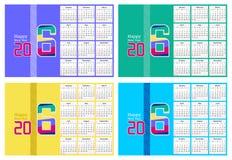 Abstrakt kalenderdesign för lyckligt nytt år 2016 i fyra olika färger Fotografering för Bildbyråer