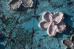 abstrakt kanfasmålning Kolossala blommor Abstrakt vår och sommar Bakgrund Royaltyfria Bilder