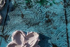 abstrakt kanfasmålning Kolossala blommor Abstrakt vår och sommar Bakgrund Arkivfoton