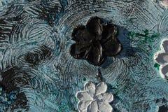 abstrakt kanfasmålning Kolossala blommor Abstrakt vår och sommar Bakgrund Royaltyfri Fotografi