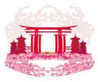 Abstrakt karta z Azjatyckimi budynkami i czereśniowymi okwitnięciami royalty ilustracja
