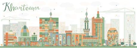 Abstrakt Khartoum horisont med färgbyggnader vektor illustrationer