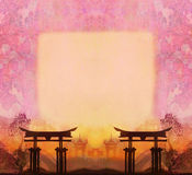 Abstrakt kinesiskt landskap med en ram i bakgrunden Royaltyfria Bilder