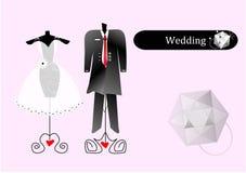 abstrakt klänningbröllop stock illustrationer