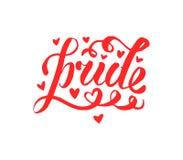 Abstrakt klottermodell för vektor Räcka skriftlig stolthet, förälskelse, fredbokstäver med regnbågen Glat ståta slogan LGBT-rätte vektor illustrationer