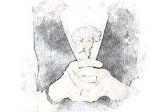 Abstrakt kobiety trzyma kwiatu kwitnącego tło royalty ilustracja