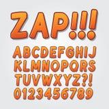 Abstrakt komisk pop Art Alphabet och nummer royaltyfri illustrationer