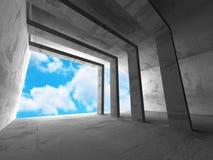 Abstrakt konkret arkitektur på bakgrund för molnig himmel Arkivfoto