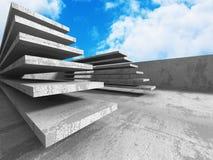 Abstrakt konkret arkitektur på himmelbakgrund Arkivfoto