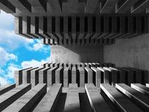 Abstrakt konkret arkitektur på himmelbakgrund Arkivbild