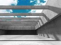 Abstrakt konkret arkitektur på molnhimmelbakgrund Arkivbilder
