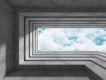 Abstrakt konkret arkitekturkonstruktion på himmelbakgrund vektor illustrationer