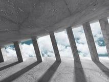 Abstrakt konkret arkitekturkonstruktion på himmelbakgrund Royaltyfri Foto