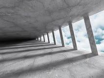 Abstrakt konkret arkitekturkonstruktion på himmelbakgrund Arkivbilder