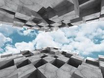 Abstrakt konkret arkitekturkonstruktion på himmelbakgrund Royaltyfri Bild