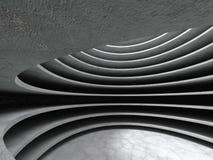 Abstrakt konkret bakgrund för arkitekturcirkelkorridor Arkivfoton