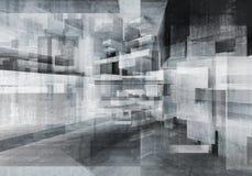 Abstrakt konkret bakgrund med kaotiska kuber royaltyfri illustrationer