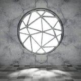 Abstrakt konkret rum med det stora runda fönstret Modern architectur Royaltyfri Foto