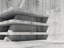 Abstrakt konkret ruminre med tomma golv 3d Arkivbilder