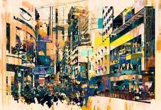 Abstrakt konst av cityscape royaltyfri fotografi