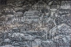 Abstrakt konst av traditionslivsstilen snider på silvermetallram i tempel Royaltyfri Foto