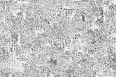 Abstrakt konst med modeller och former för hand utdragna stock illustrationer