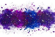 Abstrakt konstnärlig bakgrund för vattenfärgmålarfärgfärgstänk, galax med glödande stjärnor stock illustrationer