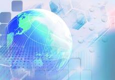 Abstrakt konstnärlig mångfärgad futuristisk illustration för tolkning 3d av en stor blå jordbakgrund som ett telekommunikationkon royaltyfri illustrationer