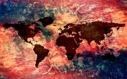 Abstrakt konstnärlig mångfärgad tappningtexturbakgrund med en världskarta stock illustrationer