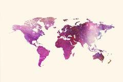Abstrakt konstnärlig mångfärgad världskarta på en vit bakgrund stock illustrationer