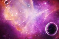 Abstrakt konstnärlig planet över en magentafärgad nebulosagalaxbakgrund arkivbild
