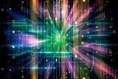 Abstrakt konstnärligt modernt färgrikt mjukt maskhålkonstverk som visualiseras i flödande färgrika strålar av ljus stock illustrationer