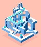 Abstrakt konstruktion med hemligheter, labyrint med hemligheter royaltyfri illustrationer