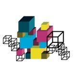 abstrakt konstruktionskub stock illustrationer