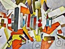 Abstrakt konstverk av färgrika geometriska former Royaltyfria Bilder