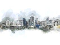 Abstrakt kontorsbyggnad i staden på vattenfärgmålningbakgrund vektor illustrationer