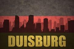Abstrakt kontur av staden med text Duisburg på den tyska flaggan för tappning Royaltyfria Bilder