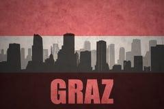 Abstrakt kontur av staden med text Graz på den österrikiska flaggan för tappning stock illustrationer
