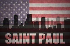 Abstrakt kontur av staden med text Saint Paul på tappningamerikanska flaggan stock illustrationer