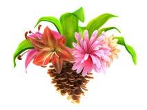 abstrakt konusuje sosnowych kwiatów liść royalty ilustracja