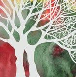 Abstrakt kort för träd på vattenfärgbakgrunden Royaltyfri Foto