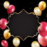 Abstrakt kort med den guld- ram- och ballongvektorillustrationen Arkivfoto