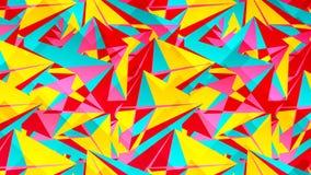 Abstrakt kort med färgrika kaotiska trianglar, polygoner Triangulär smutsig geometrisk affisch för oändlighet stock illustrationer