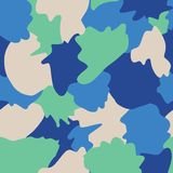 Abstrakt kształtuje kamuflażu bezszwowego wektorowego tło Zieleń, beż, błękit, cyraneczka i turkusów kształty ablegrujący, tła ka royalty ilustracja