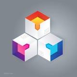 Abstrakt kubikinfographic illustration för vektor 3D Royaltyfri Bild