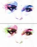 Abstrakt kvinnaöga skärm för efterföljd för bakgrundsdatormode Royaltyfria Foton