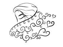 Abstrakt kvinna för minsta varm halsduk vektor illustrationer