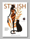 Abstrakt kvinna med panter för påse och för stor katt i etnisk stil Design för modetidskrifträkning för sommarsemesterperioden vektor illustrationer