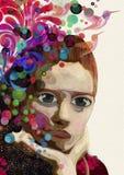 Abstrakt kvinna som tänker och drömmer för flygillustration för näbb dekorativ bild dess paper stycksvalavattenfärg Royaltyfria Bilder