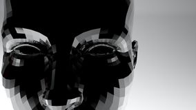 Abstrakt kvinnaframsida med illustrationen för metalltextur 3D vektor illustrationer